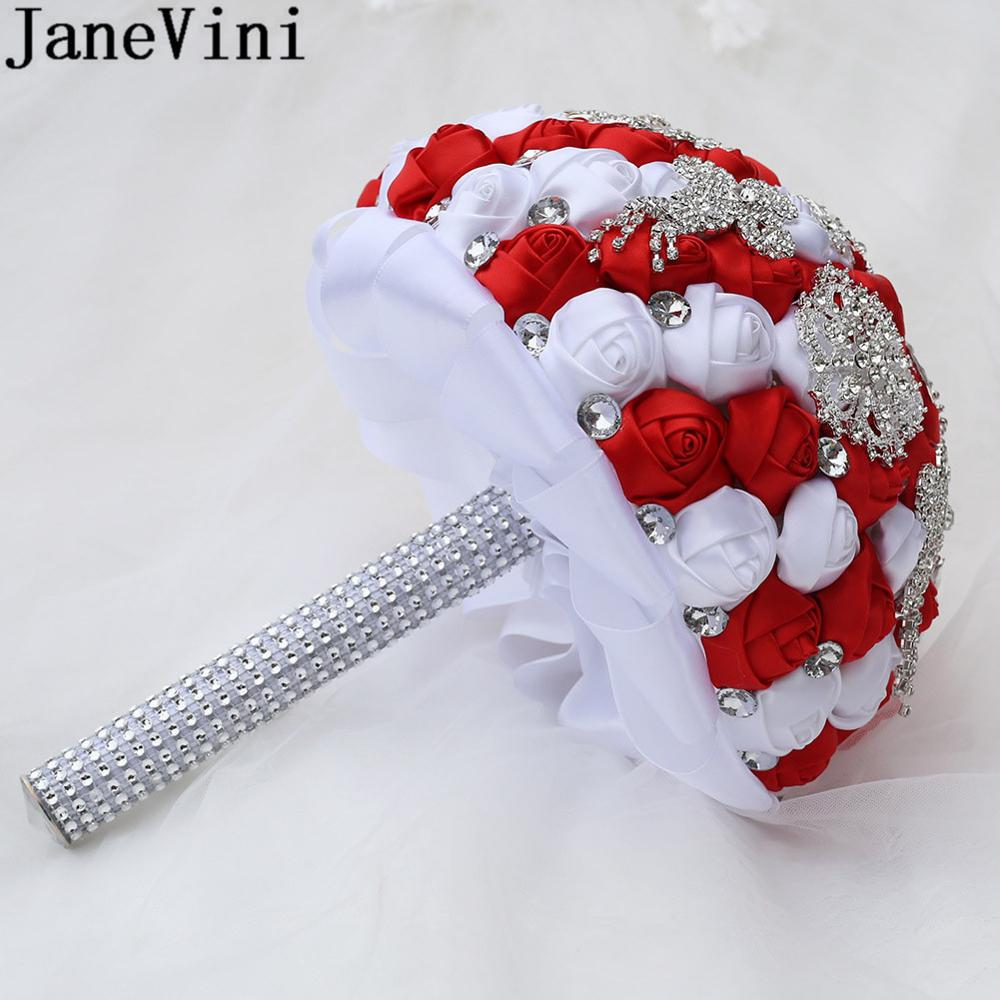 JaneVini Western Style Bride Flower Sparkly Silver Rhinestone Crystal Wedding Bouquet Red White Custom Satin Bridal Bouquets