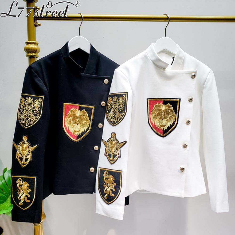 L77street Golden Embroidered Jacquard Badge Crossbody British Slim Short Casual Suit 2019 New Top Jacket