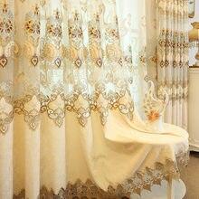 Вышитый цветочный узор ажурная прозрачная вуаль занавеска для