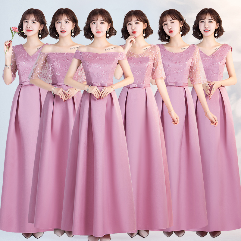 Long Pink Bridesmaid Dresses Taffeta Embroidery Vintage Elegant Dress For Wedding Party Host Sexy Dress Prom Azul Royal Vestido