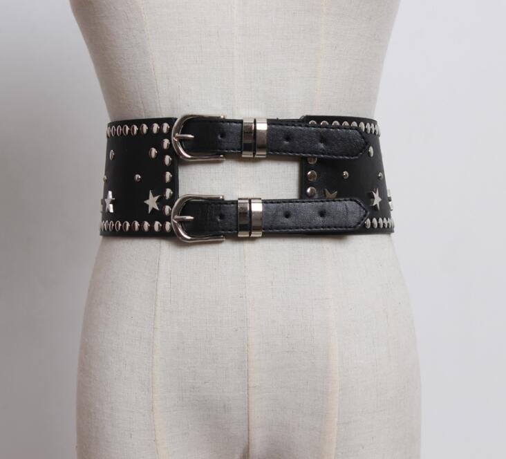 Women's Runway Fashion Rivet PU Leather Cummerbunds Female Dress Coat Corsets Waistband Belts Decoration Wide Belt R1764