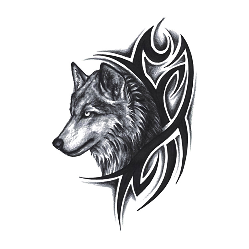 Women Men Water Transfer Fake Tattoo Wolf Head Waterproof Temporary Body Arm Leg Art Sticker