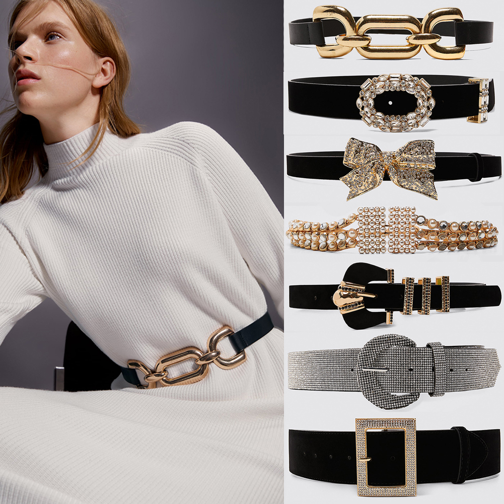 Vedawas 2019 Newest Black Full Square Crystal Buckle Belts Women Fashion Waist Belt Accessories Body Jewelry Leisure Dress