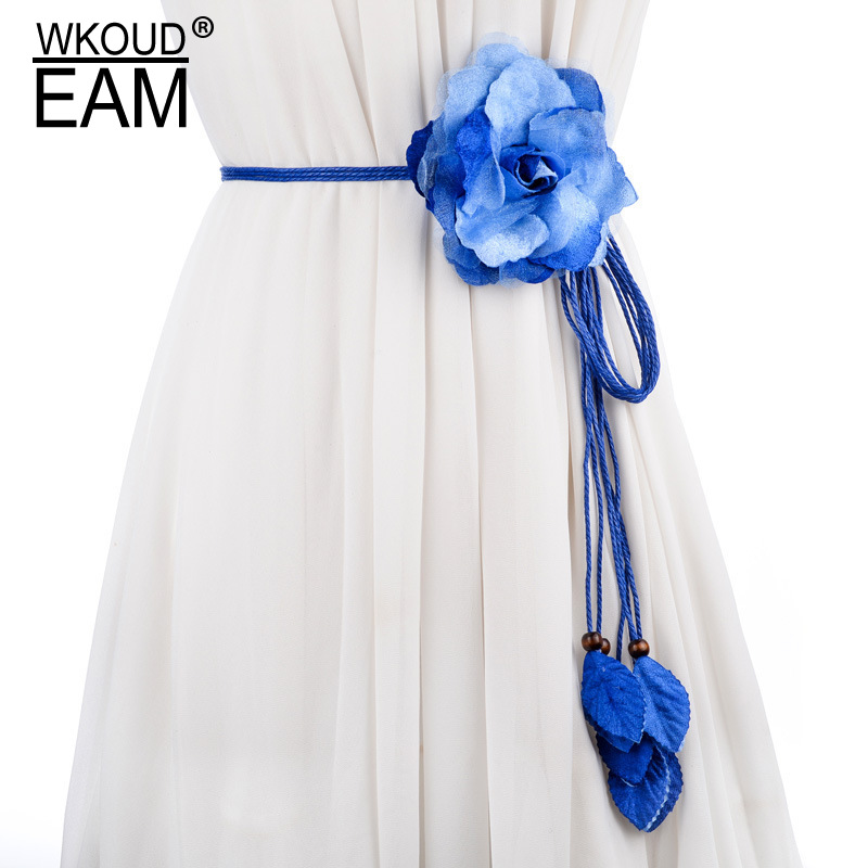 WKOUD EAM 2020 New Chiffon Flower Waistband Women Korea Logn Tassel Belt Casual Tie Temperament Wedding Dress Waist Chain PE083