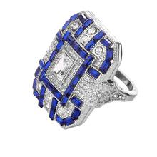 Noble Silver White Square Blue Ring Wedding Bridal Women Jewelry(China)