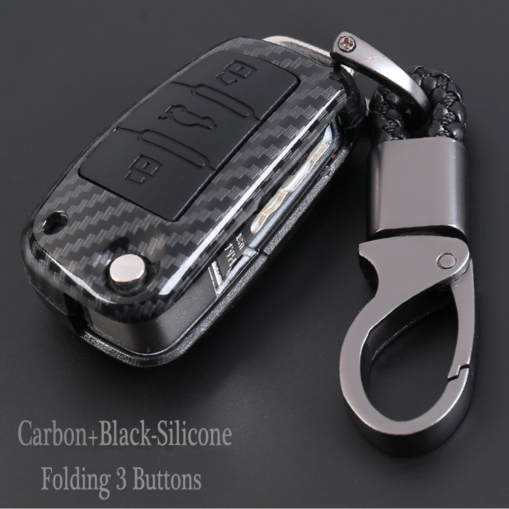 New Styling Carbon fiber  Flip Silicone Key Protect Cover Case Shell For Audi R8 A1 A3 A4 A5 A6 A7 A8 Q3 Q5 Q7 C5 C6 A4L A6L
