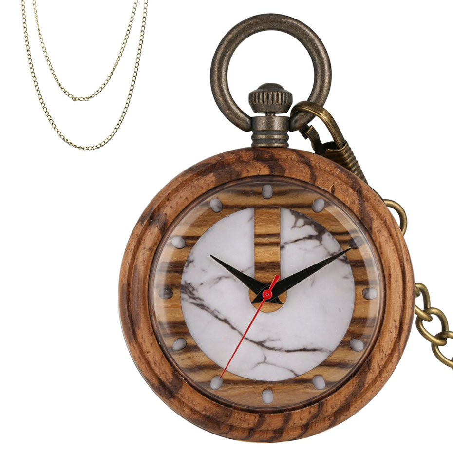 Classic Brown Wooden Creative Display Wood Quartz Pocket Watch Bronze Chains Retro Pendant Clock Vintage Necklace Watch 2019