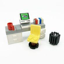 City House Mini Building Blocks Moc Accessories Parts for Locking Furniture Bricks Toys Office Desk Computer Bed TV Fish Tank