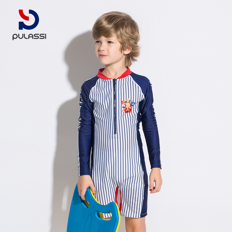 KID'S Swimwear One-piece BOY'S Big Boy Small CHILDREN'S Long Sleeve Beach Sun-resistant Quick-Dry Male Baby Tour Bathing Suit