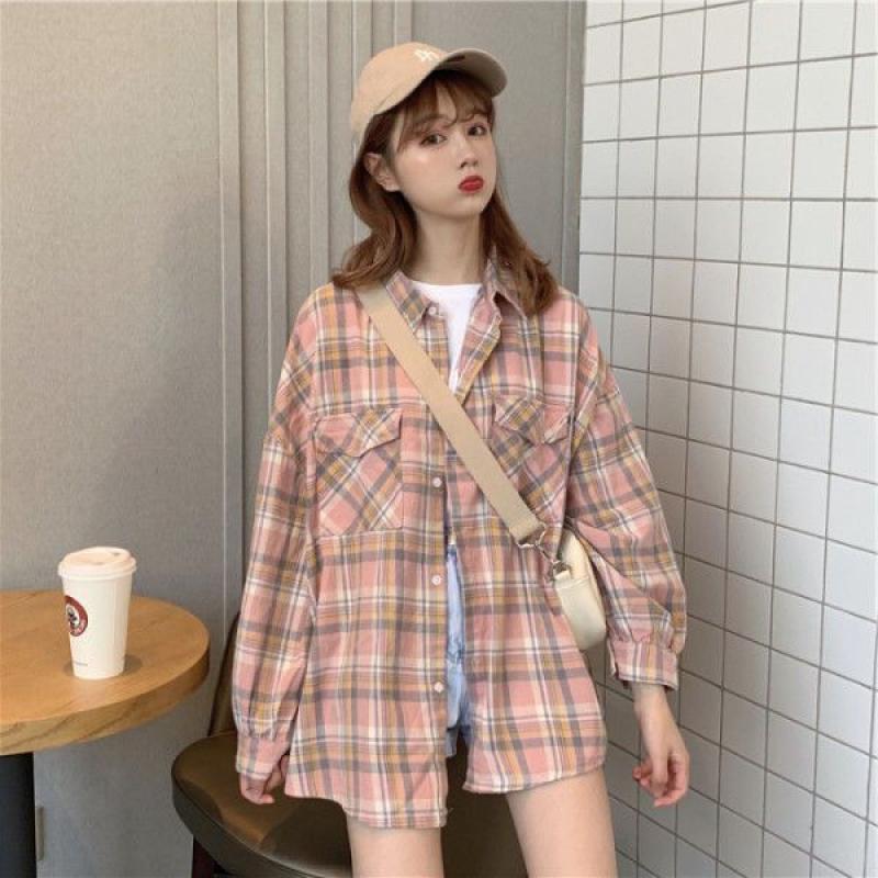 Plaid Shirts Women Casual Pink Clothes Long Sleeve Womens Shirt And Blouse Korean Harajuku Tops Studentd Kawaii Blouses Chic