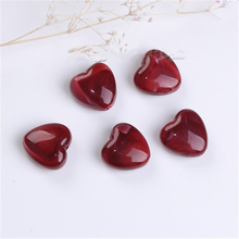Doreen Box Acrylic Beads Heart Wine Red Marble Effect DIY Findings About 14( 4/8) x 14mm( 4/8), Hole: Approx 2.2mm, 10 PCs