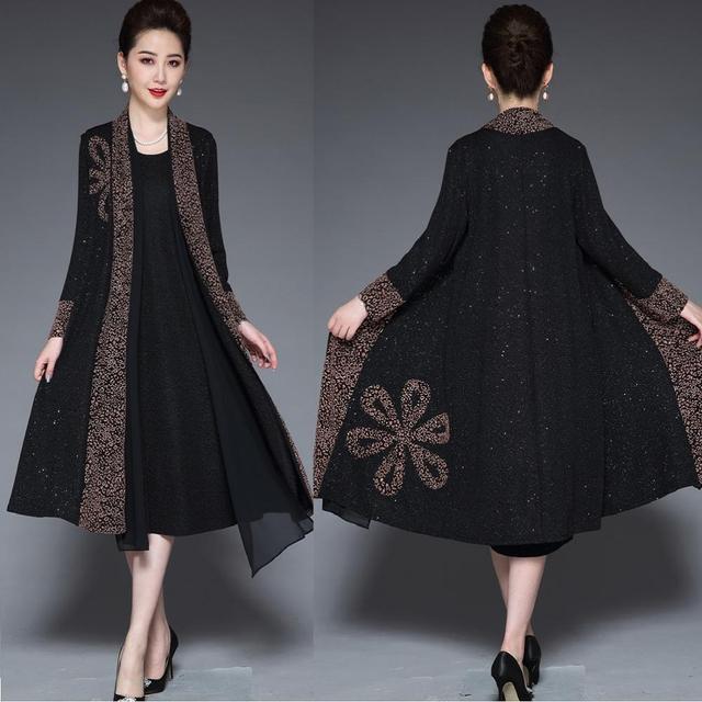 Longue robe à imprimé rétro pour mères, tenue élégante, tenue de soirée, grande taille, hiver, L 4XL