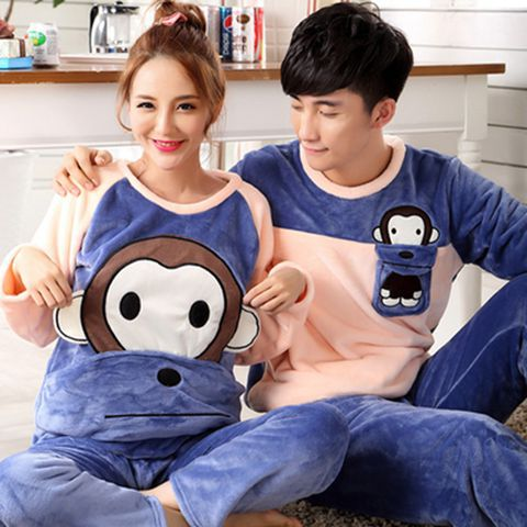 Original + Copyright, Photo Piracy Reserved Exactly) Winter Couples Velvet Flannel Tracksuit Pajamas Suit 210 Grams