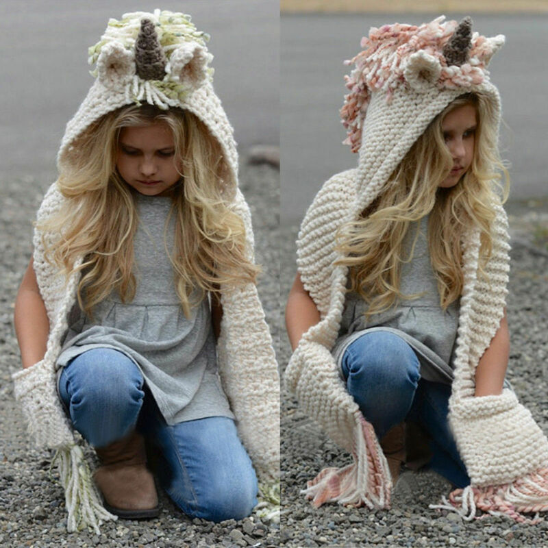 Unicorn Hooded Scarf Animal Hoodie Cowl Crochet Knitted Beanie Hat Kids Cosplay Cartoon Scarf Girls Birthday Gift Christmas Gift