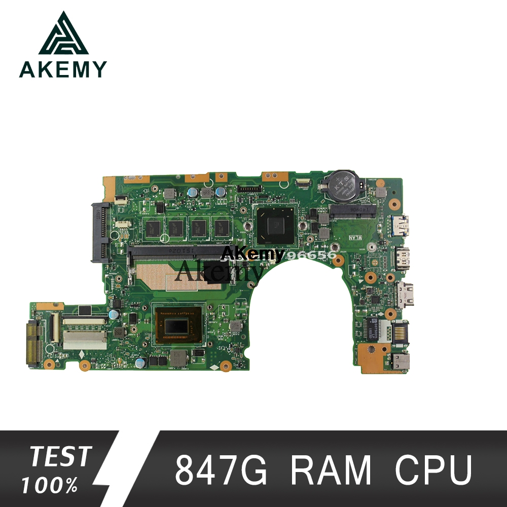 Akemy S400CA Laptop <font><b>motherboard</b></font> for <font><b>ASUS</b></font> S400CA S500CA <font><b>S400C</b></font> S500C S400 S500 Test original mainboard 4G RAM 847 CPU image