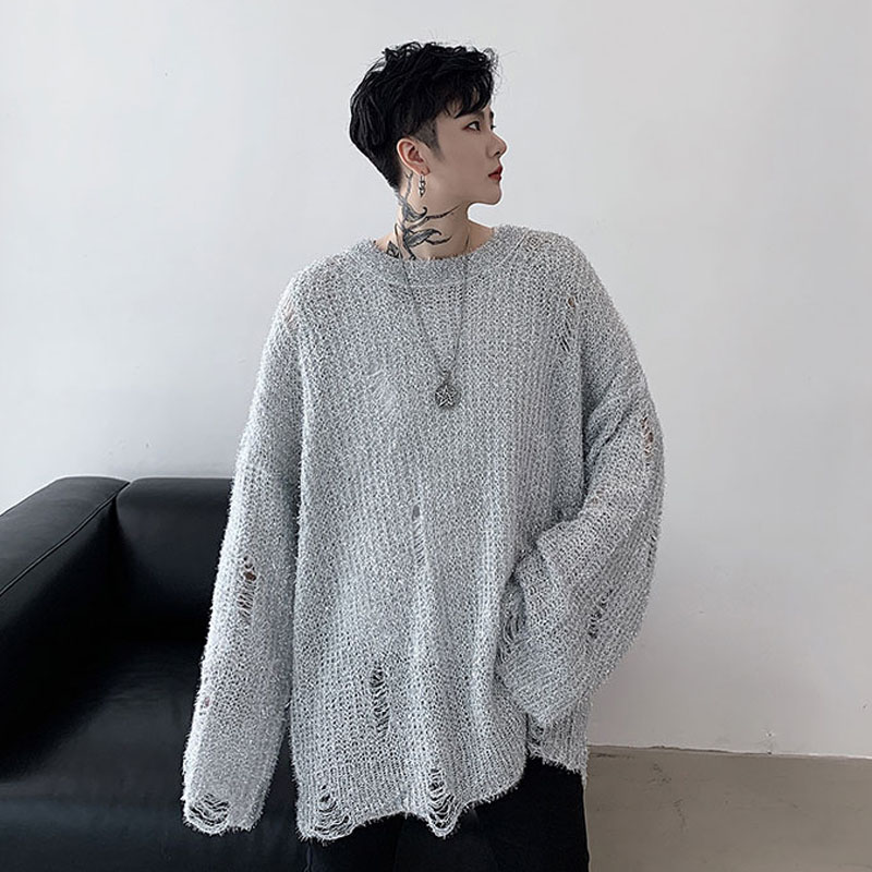 Men Women Long Sleeve Sequin Shining Hole Knitted Pullover Sweater Male Streetwear Hip Hop Punk Gothic Vintage Loose Sweater