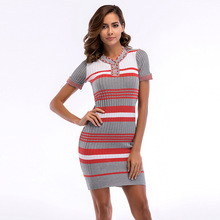 Vintage Autumn Dress 2019 Fall Striped Knit Dress Colorblock Short Sleeve Skinny Hip Dress Retro for Ladies Women's Wear button front colorblock striped rib knit dress