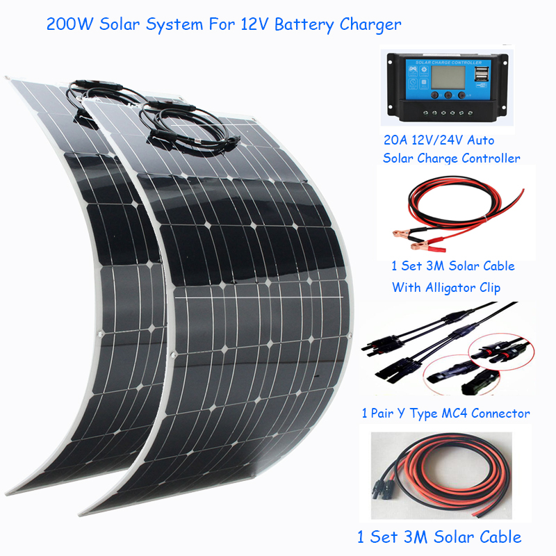 200w Completely Solar System 2pcs Flexible Solar Panel 100w 1 Set Solar Controller And Solar Cable DIY Kit For 12v Battery