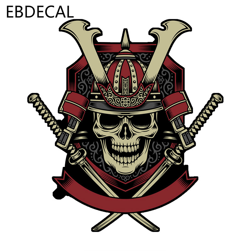 EBdecal Samurai Warrior Skull With Crossed For Auto Car/Bumper/Window/Wall Decal Sticker Decals DIY Decor CT6179