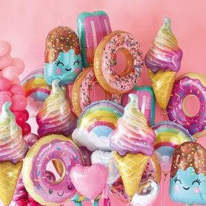 1set Pink Donut Lip Ice Cream Popcorn Candy Foil Balloon Baby Shower Happy Birthday Decoration Balloon Boy Girl Cute Kid Toy