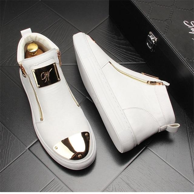Zapatillas de cuero dorado para Hombre, zapatos informales Punk, Hip Hop, botines planos con cremallera 3