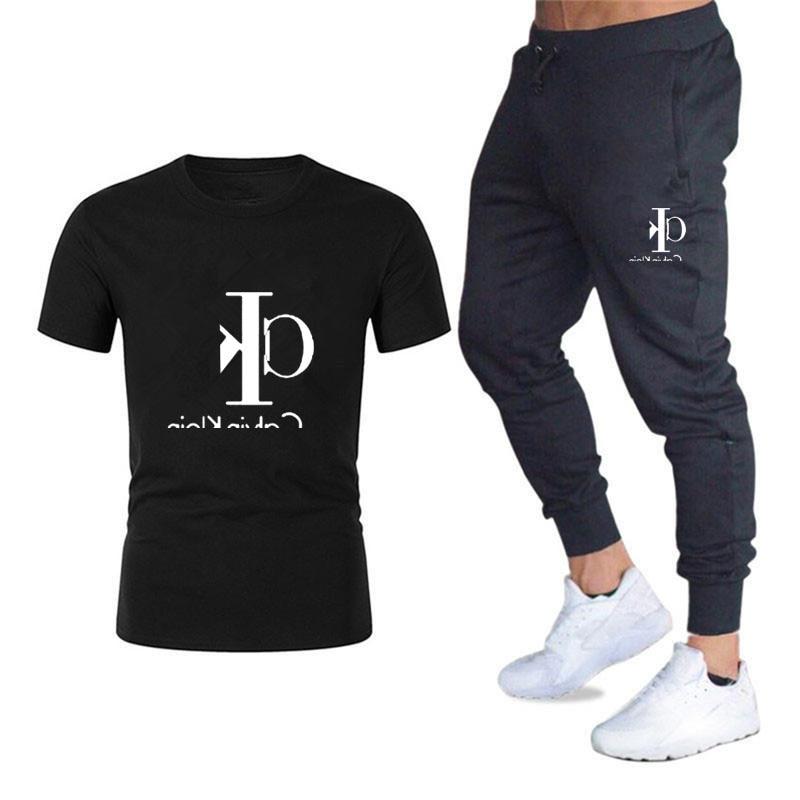 Wholesale Summer Business Men's Sports T-shirt Suit Casual Fashion Short Sleeve T-shirt + Trousers Sports Suit