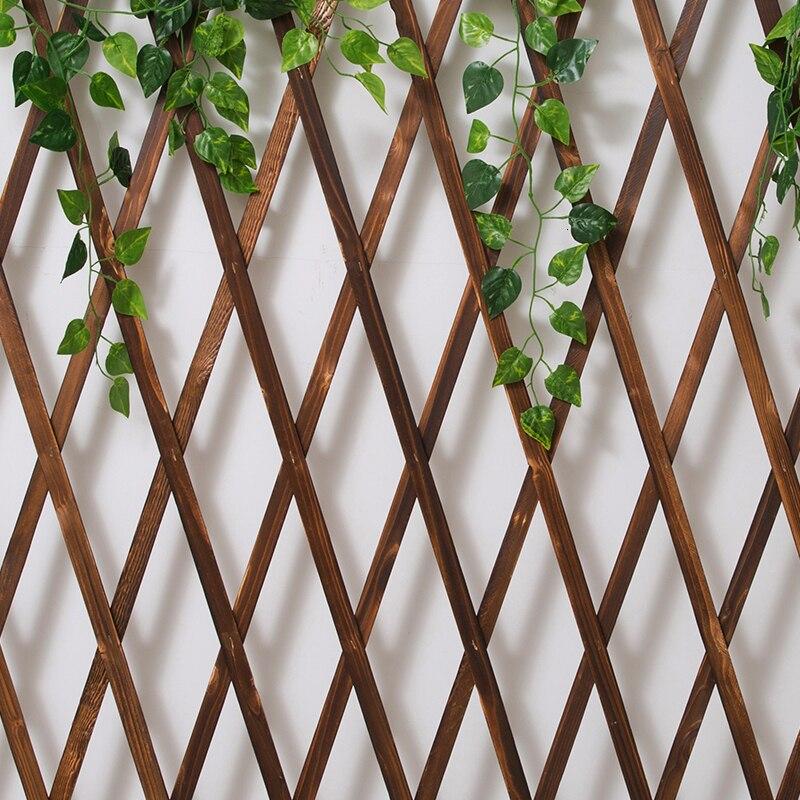 Wall Wall Anticorrosive Wooden Grid Column Telescopic Metope Balcony Enclosure Decorate Bracket Grid Flower Rack Climb Arbor
