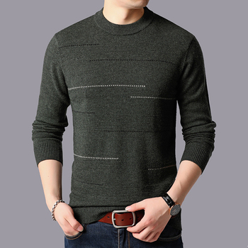 Mens 100% Wool Knit Tops Sweater Pullover Basic O Neck for Autumn Winter Striped Fashion Casual BO25681230
