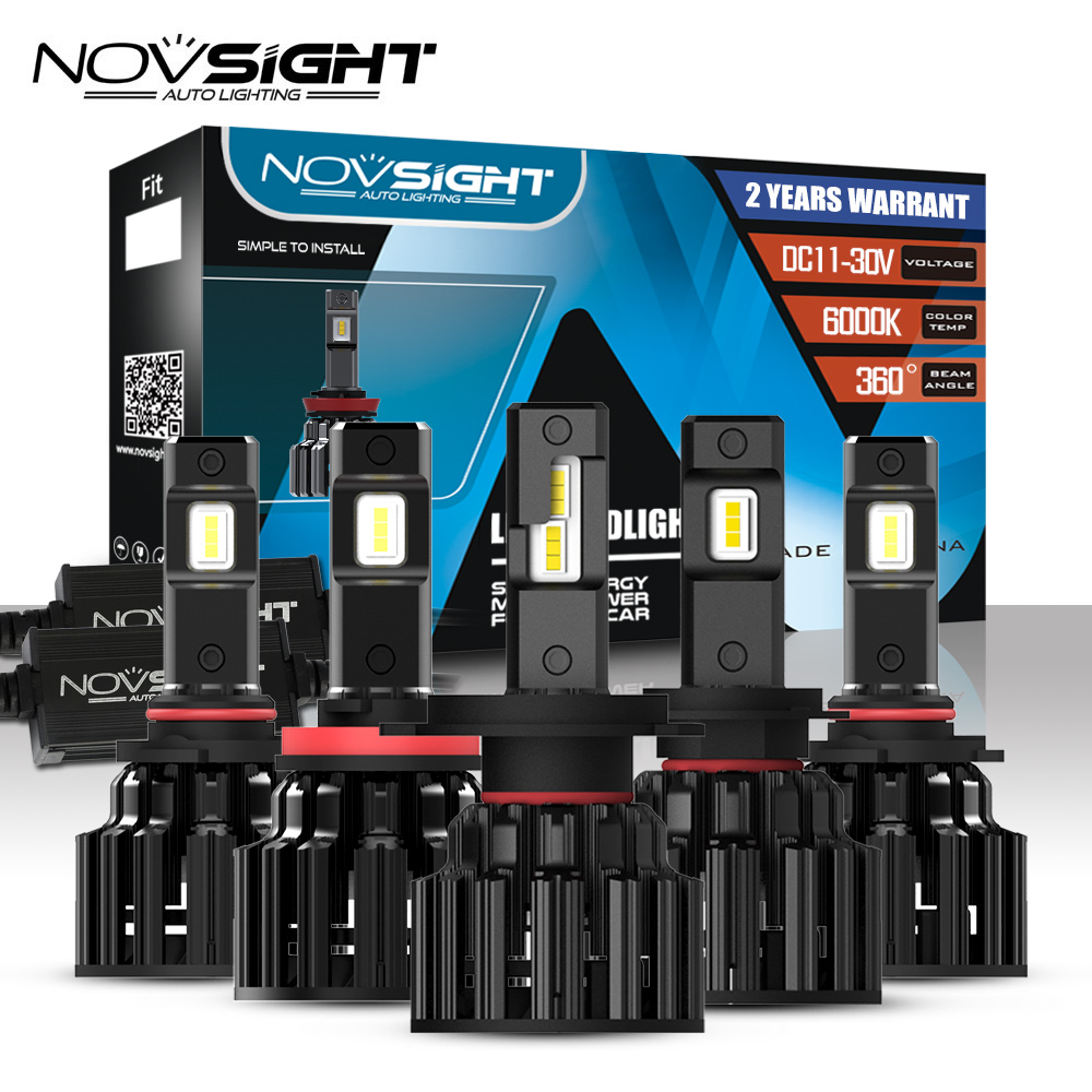 NOVSIGHT Car Headlight H4 Hi Lo Beam LED H7 H8 H9 H11 9005 HB3 9006 HB4