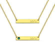 AILIN Stainless Steel Bar Necklace God Is Greater Than The Highs And Lows Custom with Birthstone and Engravings