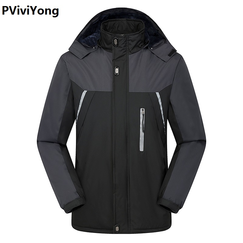PViviYong 2019 Winter Jacket Men Male Hooded Coat Jackets Men Reflective Article, Ski-wear Coat Thicked Liner Parka 566