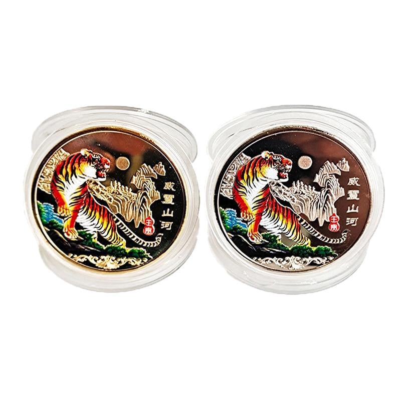 2022 neue Jahr Gold Münze Zwölf Sternzeichen Tiger Ox Gedenk Münzen Sammlung Geschenk Dekorative Münzen Sammlung Dekoration Waren