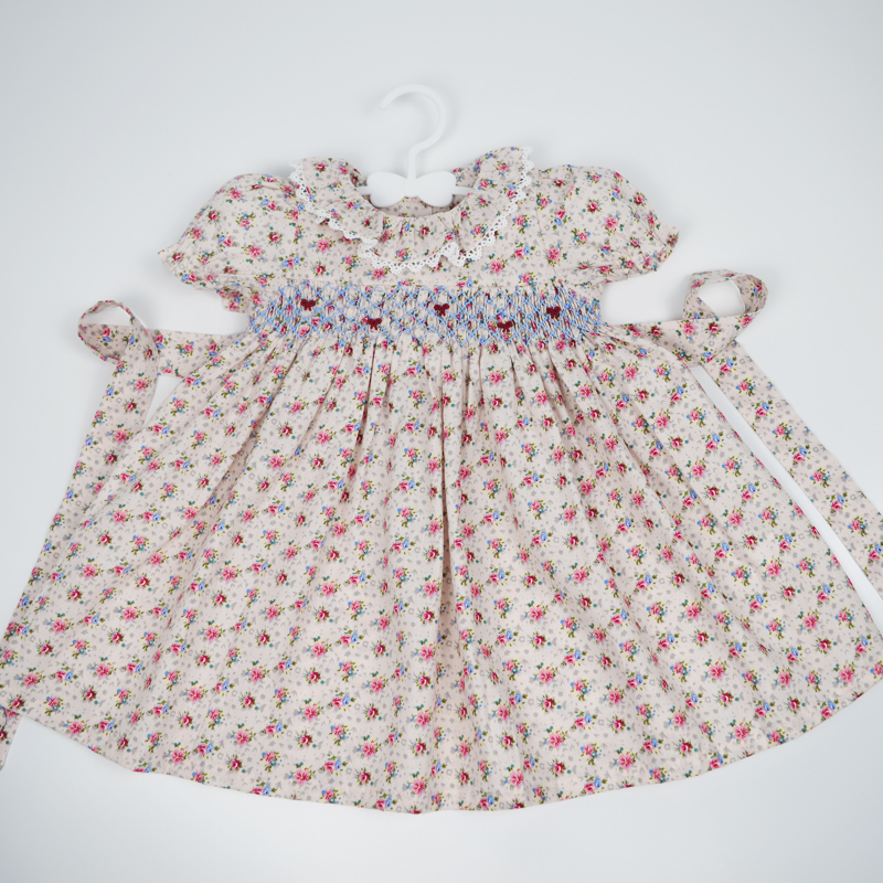 Kids Dresses For 2021 Summer Baby Girls Infant Party Doll Smocked Dress 1-3 Years Toddle Baby Princess Wedding Party Boutiques