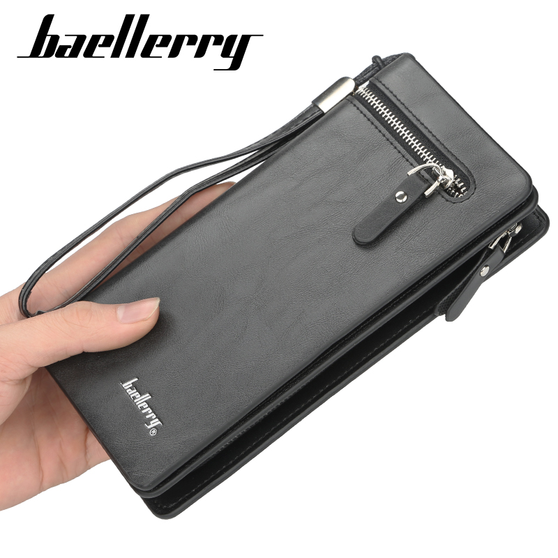 Baellerry Fahion Top Quality Men Wallets Black Slim Phone Men Clutch Bags Leather Card Holder Long Purses & Wallet