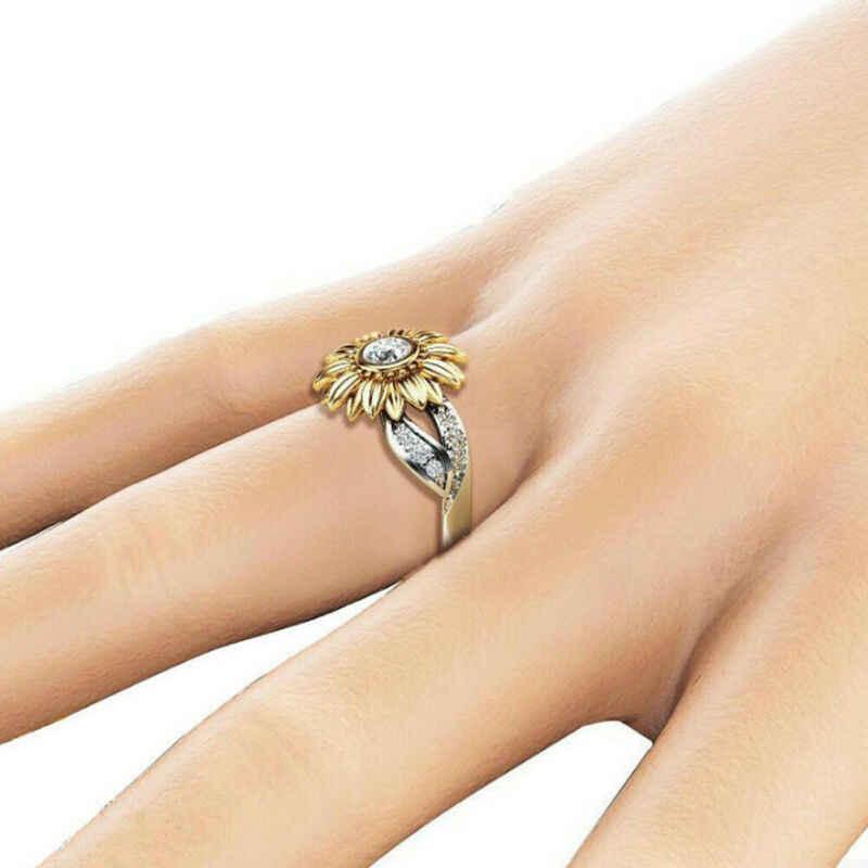 ยี่ห้อใหม่สตรีแฟชั่น Sunflower Silver Rose Gold แหวนหญิง Zircon สัญญางานแต่งงานเครื่องประดับแหวน