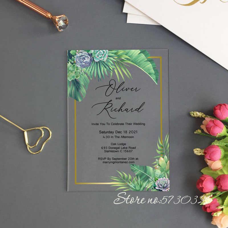 carte d invitation personnalisee en acrylique pour mariage roses a fleurs roses