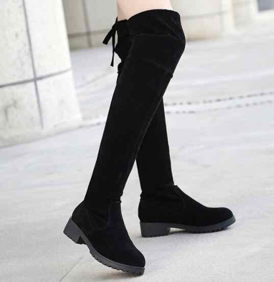 ผู้หญิงเข่ารองเท้า 2019 ฤดูใบไม้ร่วงฤดูหนาวแฟชั่นหนังนิ่มสีดำรองเท้าเซ็กซี่สุภาพสตรี casual รองเท้ารถจักรยานยนต์รองเท้า m050