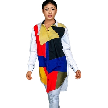 Patchwork Contrast Color Long Sleeve Shirt Dress Women 2020 Turn Down Collar Button Asymmetrical Casual Autumn