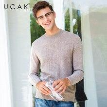 UCAK العلامة التجارية النقي كنزة من صوف ميرينو الرجال سحب أوم عارضة س الرقبة البلوز الرجال ملابس الخريف الشتاء الدافئة سترات كشميرية U3075
