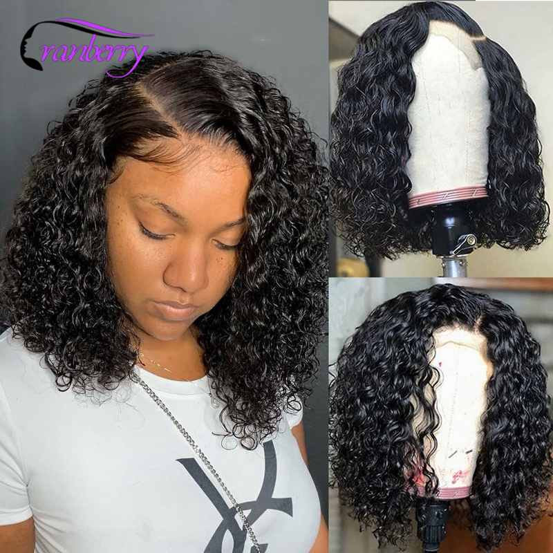 Клюквенные волосы, малайзийские волосы, волнистые волосы 13X4, Короткие парики из человеческих волос Remy, фронтальные человеческие волосы, пар...