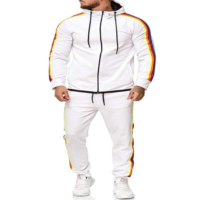 Spring Autumn Men Tracksuit Men Casual 2 Piece Set Men Fashion Hoodies Jacket+Sport Pants Set Men Casual Sport Suit New 5 Colors