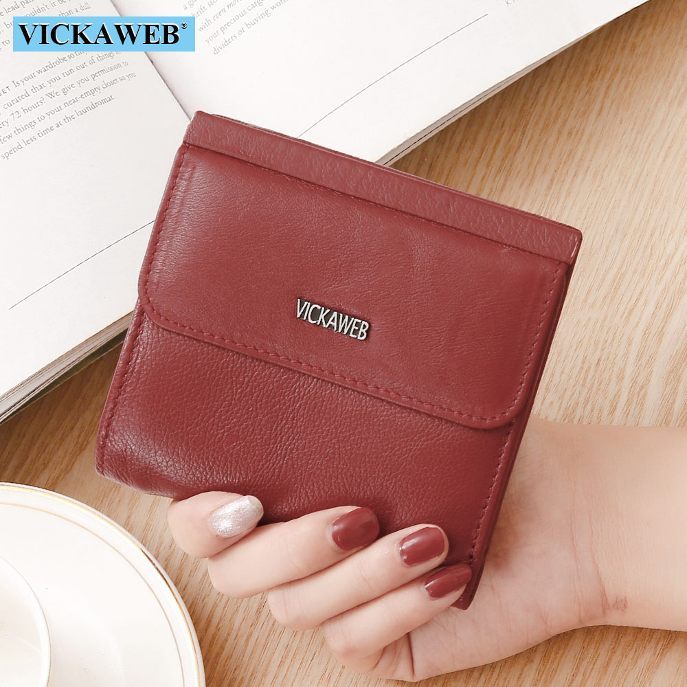 VICKAWEB Women Small Genuine Leather Wallet Fashion Cute Ladies Purse Female Hasp Womens Wallets And Purses Mini Money Short Bag