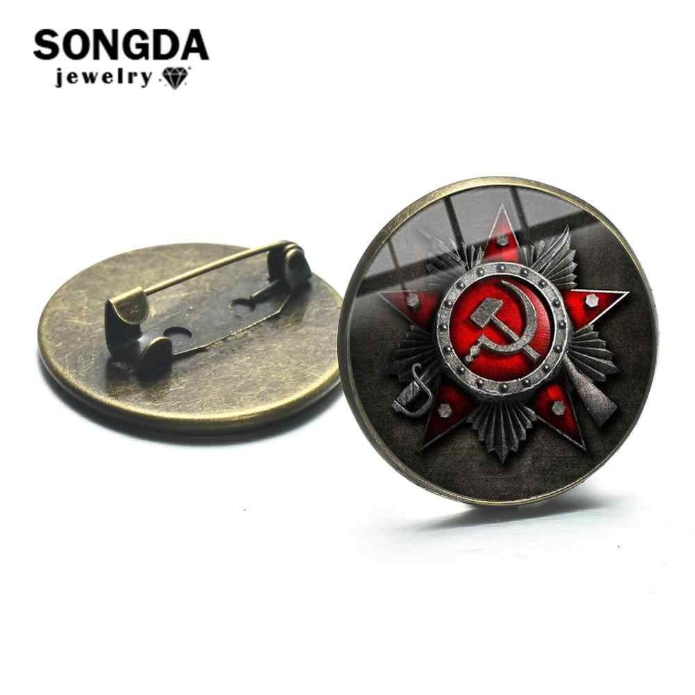 SONGDA CCCP USSR Soviet Army Red Star Brooches Bronze Plated Glass Art Round Metal Pins Button Russian Badges Decorative Jewelry