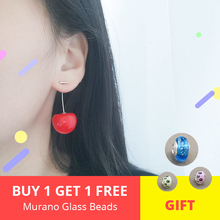 New Fashion 925 silver & rose gold chain Cute Red big Cherry Fruit long Earrings For Women trendy Jewelry free shipping
