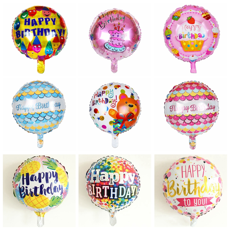 1pcs <font><b>18</b></font>-inch Round <font><b>Happy</b></font> <font><b>Birthday</b></font> Balloons <font><b>Birthday</b></font> Party Decoration Toy Bear Cake Smile Rainbow Balloons High Quality image