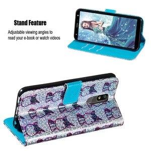 Image 4 - 빛나는 지갑 플립 pu 가죽 케이스에 대 한 google 픽셀 4 xl 4 케이스에 대 한 lg k12 플러스 k40 유니콘 패턴 카드 슬롯 전화 가방 coque