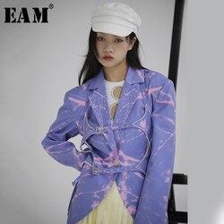 Женский блейзер EAM, Синий Свободный блейзер с длинным рукавом и принтом, 1S114, 2020