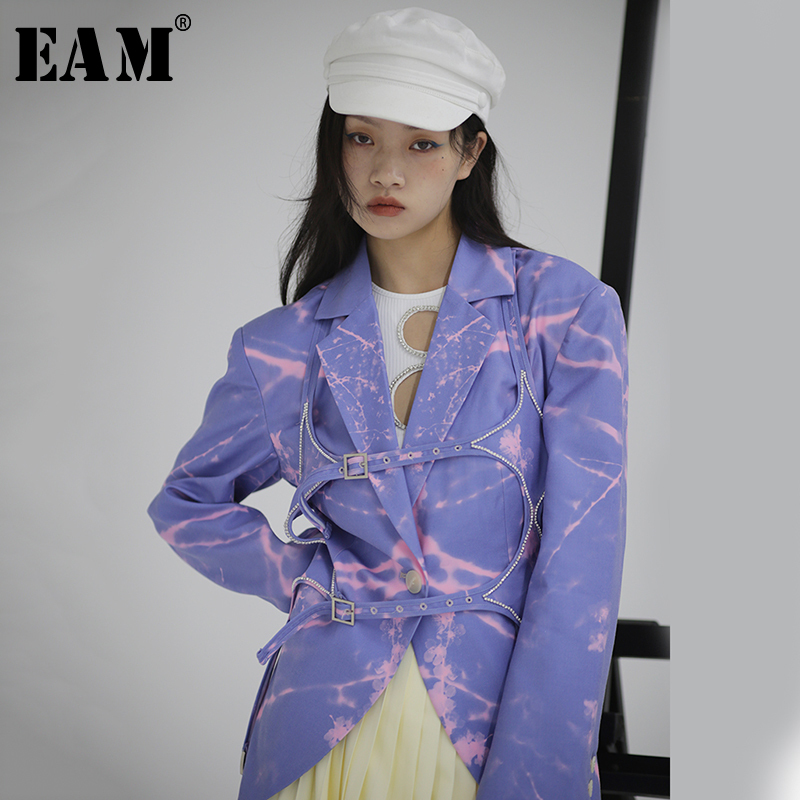 [EAM]  Women Blue Pattern Printed Hollow Out Blazer New Lapel Long Sleeve Loose Fit  Jacket Fashion Spring Autumn 2020 1S114