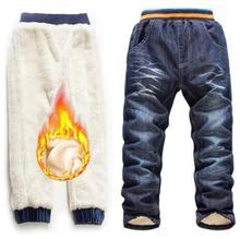 купить Boys Teenage Long Trousers 6-10Yrs Boys Jeans Trousers Winter Add Wool Pants 2019 Winter Warm Children Denim Jeans Brand Clothes дешево