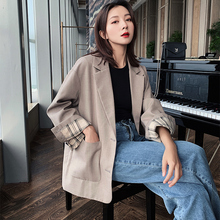 Retro Casual Ladies Blazer Loose Stylish Solid Black Simple Suit Jacket Long Sleeve Blezer Feminino Autumn Women Jacket MM60NXZ